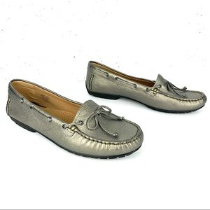 L.L.Bean Metallic Driving Leather Loafers Size 10